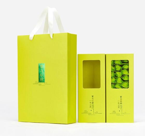 茶叶盒开窗白卡手提袋套装